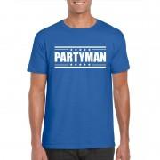 Bellatio Decorations Partyman t-shirt blauw heren
