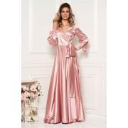 Rochie LaDonna roz prafuit lunga de ocazie din material satinat in clos cu decolteu in v cu maneci lungi si elastic in talie