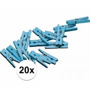 Merkloos Blauwe mini knijpertjes 20x