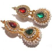 Green And Maroon Pearl Jhumka Earring