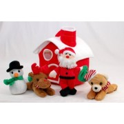10 Inch Plush Christmas House with Santa Claus, Snowman, Red Nose Reindeer and Christmas Brown Bear
