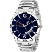 Svviss Bells Original Blue Dial Silver Steel Chain Day and Date Multifunction Chronograph Wrist Watch for Men - SB-1019