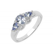Inel argint 925 cu tanzanit si diamante albe