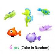 6 pcs Baby Bath Toy Wind-Up Bathing Swimming Shower Toy Clockwork,Sea Horse,Kiss Fish,Shark,Turtule,Hippo,Crocodile Fun Water Toy Sets Random Color