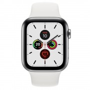 Apple Watch Series 5 GPS 40mm + Cellular Aço Inoxidável Prateado com Bracelete Desportiva Branca