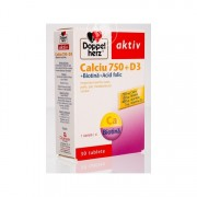 DOPPELHERZ CALCIU 750 + D3 + BIOTINA + ACID FOLIC 30 comprimate