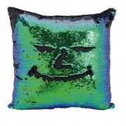 Geen Kussen blauw/groen metallic met pailletten 40 x 40 cm