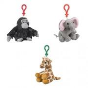 African Animals Bundle: Gorilla, Giraffe, Elephant Stuffed Animal Backpack Clip Toy Keychains Wildlife Artists
