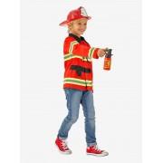 VERTBAUDET Disfarce de bombeiro vermelho medio liso com motivo