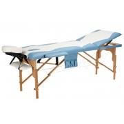 Łóżko do masażu 3 segmentowe drewniane biało - pistacjowe