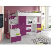 Smartshop Patrová postel se skříní a psacím stolem NASH 4S, bílá/fialová