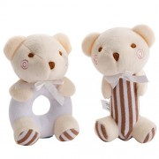 Wingingkids Easy Grip Ring Rattle Plush Toy Set, Educational Sensory-Activity Grasping Rattles, First Year Baby, Cute Baby Boy Use, Plush Bear, Brown