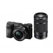 Aparat foto Mirrorless Sony Alpha A6100, CMOS Exmor, 24.2MP, 4K, Wi-FI, Bluetooth + Obiectiv 16-50mm + Obiectiv 55-210mm
