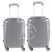 JUSTGLAM Coppia di 2 trolley da cabina mis.50 e 55 cm argento