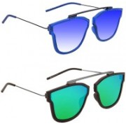 Hupshy Retro Square Sunglasses(Blue, Green)