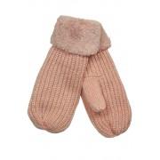 Emi Ross dámské pletené palčáky s kožíškem světle růžová