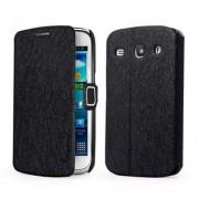 Кожен калъф с копринен оттенък за Samsung Galaxy Core I8260 I8262 - черен