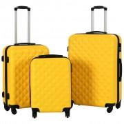 vidaXL Комплект твърди куфари с колелца, 3 бр, жълти, ABS