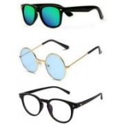 SO SHADES OF STYLE Round, Wayfarer, Retro Square Sunglasses(Green, Blue, Clear)