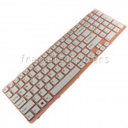 Tastatura Laptop Sony Vaio SVE15 alba cu rama roz
