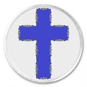 "Blue Cross Crucifix 3"" Sew On Patch Church Christian Christ God Jesus Prayer"