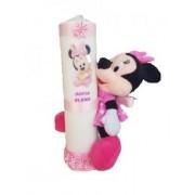 Lumanare personalizata ornata roz 7 x 30cm