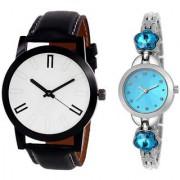 MACRON W-226 Couple Watch Combo Watch White Dial Sky Blue Dial Silver watch 226