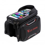 WEST BIKING Bicycle Front Frame Bag Cycling Waterproof Screen Touch Top Tube Phone Bag - Red