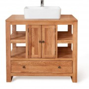 Baumhaus Mobel Oak Mobel Oak Bathroom Collection Solid Oak Two Door Single Sink Unit Square