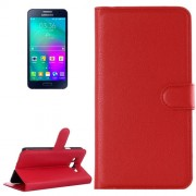 Samsung Galaxy A7 Case, / A700F Litchi Texture Horizontal Flip Leather Case with Holder & Card Slots & Wallet(Red)