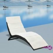 vidaXL Sklopiva ležaljka za sunčanje s jastukom od poliratana crna