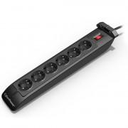 SURGE PROTECTOR, CyberPower, 6 гнезда, защита, бутон за включване, 220V/10A, 1.8 м кабел (SB0601BA)