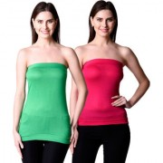 NumBrave Womens Green Pink Tube Top (Combo of 2)