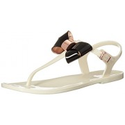 Ted Baker Women's Soami Jelly Sandal, Cream/Black, 9 M US