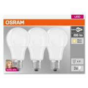 E27 9 W 827 LED bulb, matt, set of three