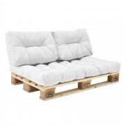 [en.casa]® Beltéri raklapbútor párna szett - Szivacs huzattal raklaphoz (1xÜlőpárna és 2xhátpárna) - fehér