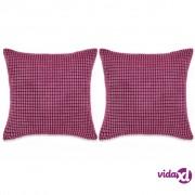 vidaXL Set Jastuka 2 kom od Velura 45x45 cm Ružičasti