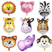 Sotogo 9 Pieces Jungle Safari Animals Balloons 22 Giant Zoo Animal Kit For Theme Birthday Party Decorations Kids Decor