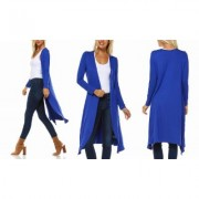 Women's Isaac Liev Women's Extra Long Cardigan Duster S-3X Royal 2X-Large Blue