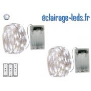 2 Guirlandes LED sur pile 5m décoration Blanc froid ref gl-19