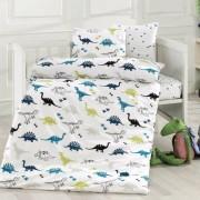 Lenjerie de pat Dinozauri, din bumbac, pentru copii, 100 x 135 cm, 40 x 60 cm