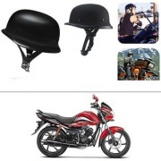 AutoStark German Style Half Helmet Matte Black) for Hero Passion Plus