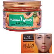 Femina Beauty Papaya Gel 400gm with Pink Root De-Tan Facial Kit 83gm
