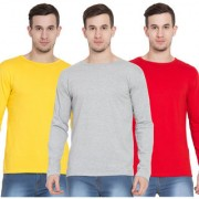 Cliths Tshirts for Men Full Sleeve Pack of 3 Cotton Round Neck Tshirts (Yellow Red Light Grey)