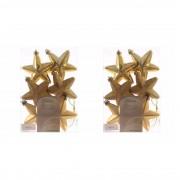 Decoris 12x Gouden sterren kerstballen 7 cm kunststof glans/mat/glitter - Kersthangers