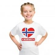 Shoppartners Noorse vlag in hartje shirt wit kind