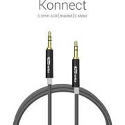 Portronics premium Konnect 3.5mm AUX/Braided /2 Meter Audio cable-Grey