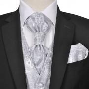 vidaXL Мъжка жилетка за сватба, комплект, пейсли мотив, размер 48, сребриста