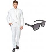 Wit heren kostuum / pak - maat 56 (XXXL) met gratis zonnebril