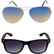 HE Aviator, Wayfarer Sunglasses(Blue, Golden, Black)